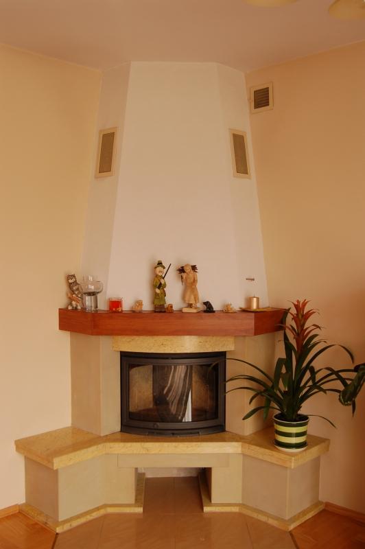 kominek tradycyjny rustykalny tradycyjna rustykalna obudowa kominkowa z wkładem Dovre 2400 BSA kominki kraków